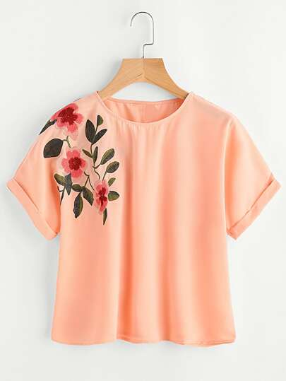 Flower Embroidered Cuffed Sleeve Top