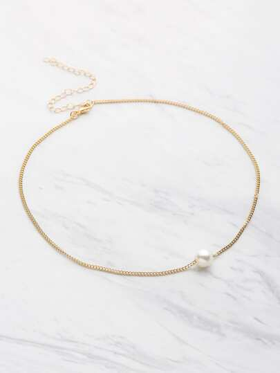 Chain Necklace With Faux Pearl