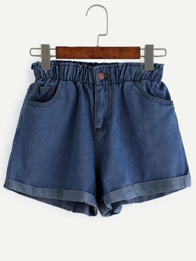 Elastic Waist Roll Cuff Denim Shorts