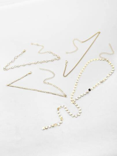 Chain Choker And Y Necklace Set