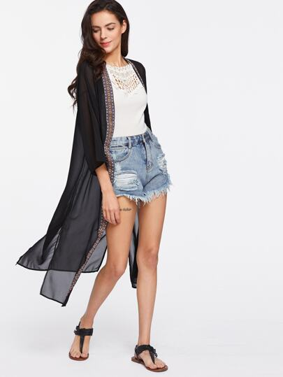 Embroidered Tape Detail Slit Side Chiffon Kimono