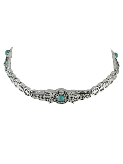 Silver Design Turquoise Metal Choker Necklaces