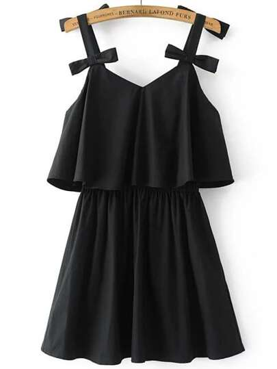 Cami Straps Open Back Dress With Bow Detail