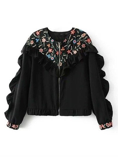 Embroidery Layered Ruffle Trim Jacket