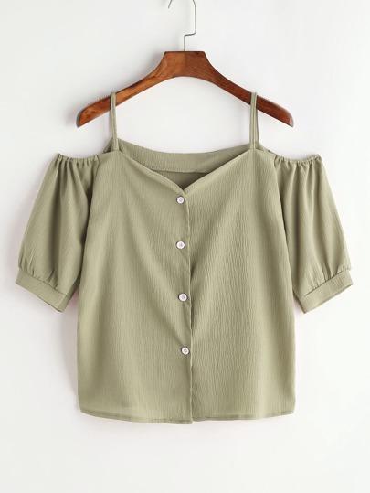 Schulterfreie Bluse mit Knöpfen vorne