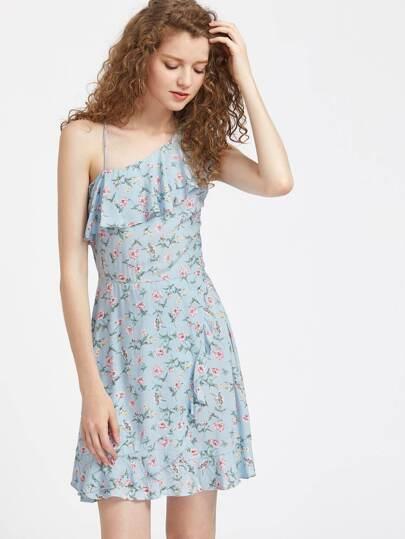 Asymmetric Ruffle Shoulder Ditsy Wrap Dress
