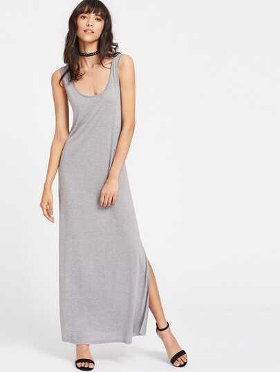 Side Slit Heathered Maxi Tank Dress