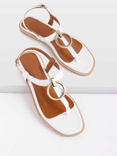 Ring Detail Toe Post Sandals