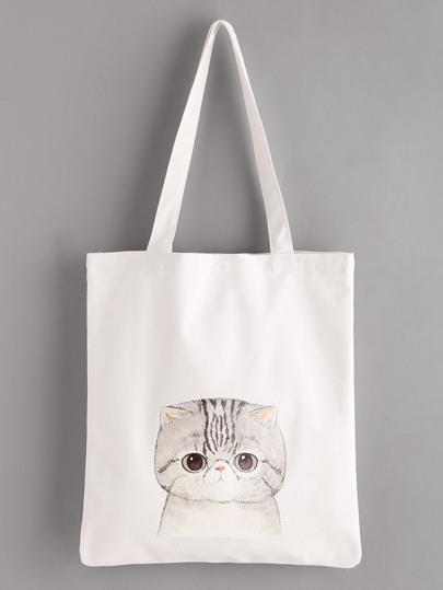 Cat Print Linen Tote Bag