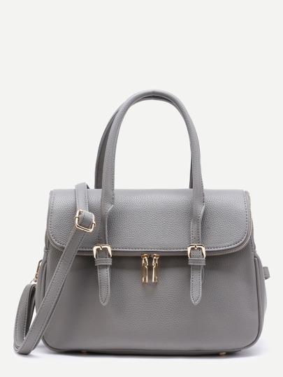 Contrast Zipper PU Satchel Bag