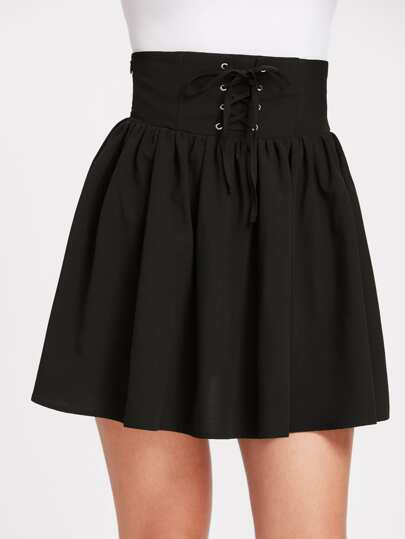 Grommet Lace Up Corset Skirt