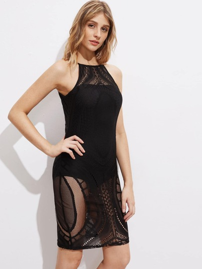 Lace Overlay Racer Cami Dress