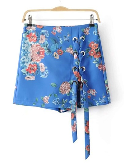 Falda-pantalón con estampado floral con cordones