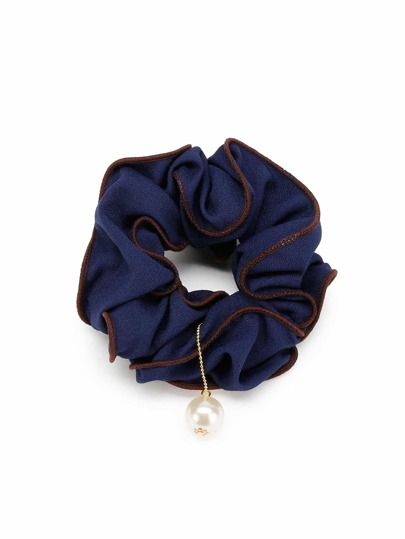 Ruffle Hair Scrunchie With Faux Pearl