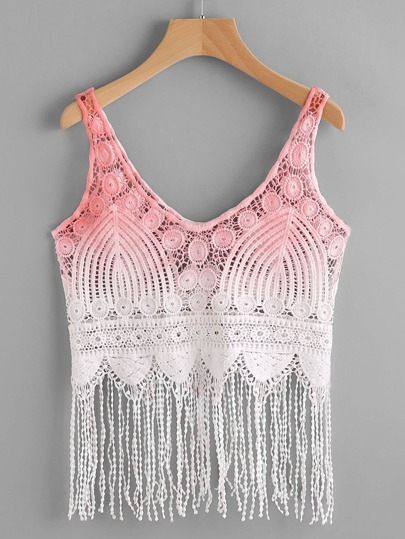 Fringe Scallop Hem Ombre Crochet Tank Top