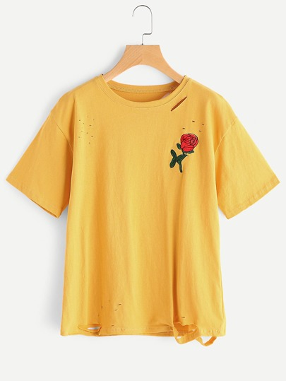 Rose Embroidered Ripped T-shirt