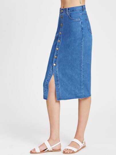 Button Up Raw Cut Midi Denim Skirt
