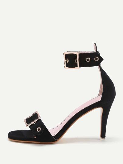 Eyelet Design Double Buckle Sandals