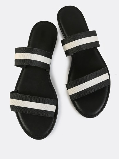 Double Band Striped Sandals BLACK WHITE