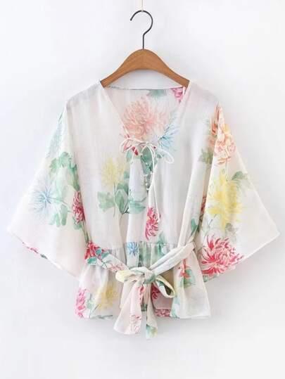 Kimono Sleeve Lace Up Top With Self Tie Waist