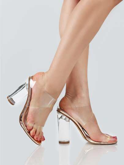 Clear Double Band Slip On Heels ROSE GOLD