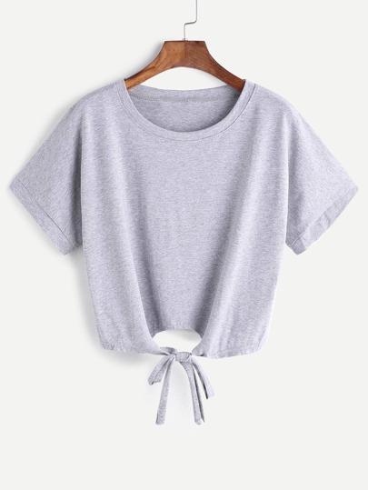 Camiseta corta cordón en la parte delantera - gris