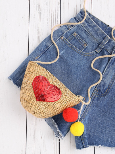 Heart Patch Straw Crossbody Bag