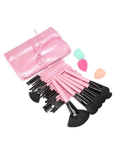 Delicate Professional Brush Set With Bag And Puff