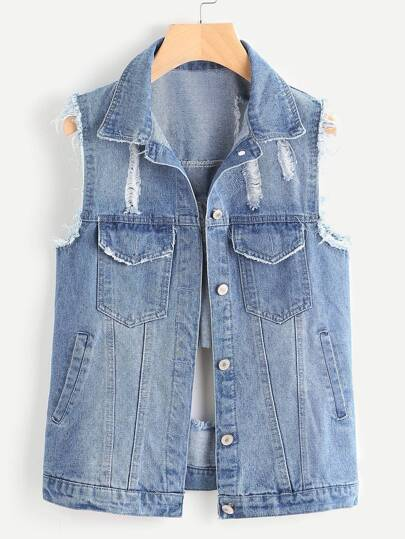 Distressed Single Breasted Denim Vest