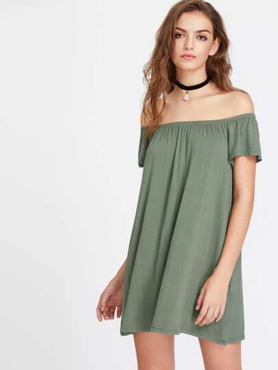 Elasticized Off Shoulder Flowy Dress