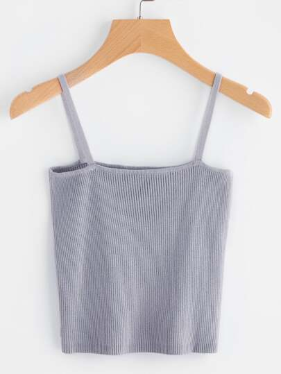 Rib Knit Crop Cami Top