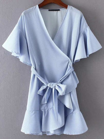 Flute Sleeve Frill Trim Wrap Dress With Self Tie