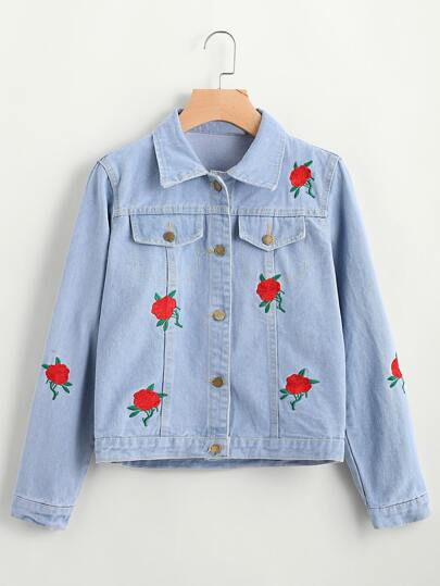 Embroidered Single Breasted Chest Pockets Denim Jacket