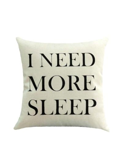 Slogan Print Pillowcase Cover