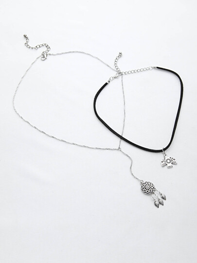 Dreamcatcher Shaped Pendant Necklace Set 2pcs