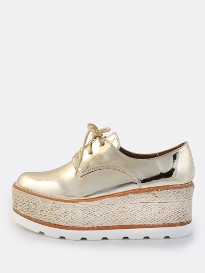 Metallic Oxford Espadrille Flatforms GOLD