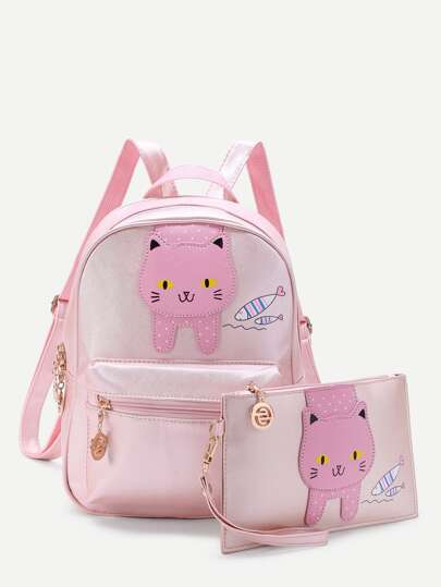 Cat And Fish Pattern Backpack With Clutch Bag