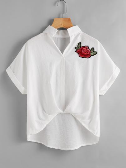 Appliques Dip Hem Shirt