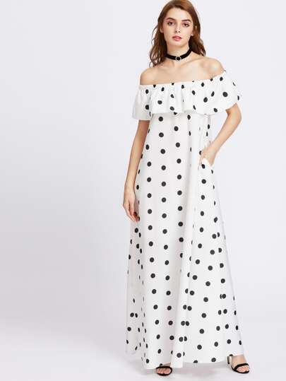 Polka Dot Print Flounce Off Shoulder Tent Dress