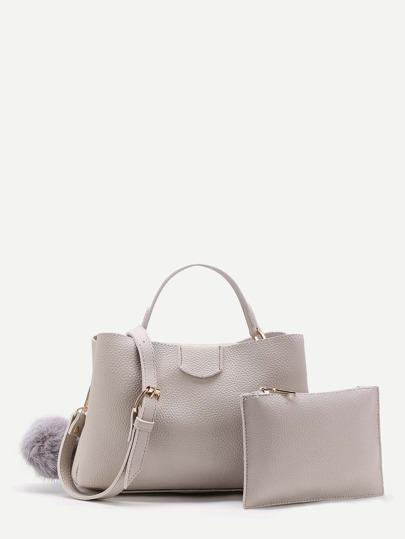 Pom Pom Detail PU Shoulder Bag With Clutch