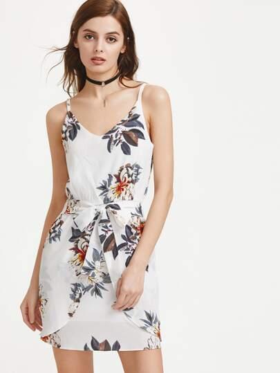 V Neckline Floral Print Tie Front Slip Dress