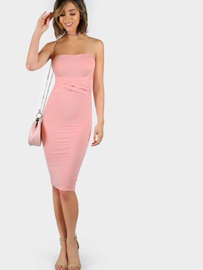 Weave Strap Tube Dress PINK