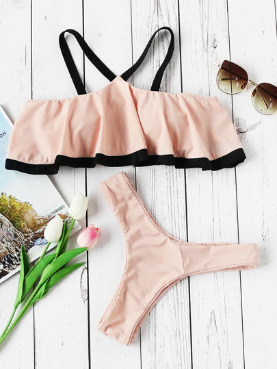 Contrast Strap And Trim Cold Shoulder Flounce Bikini Set