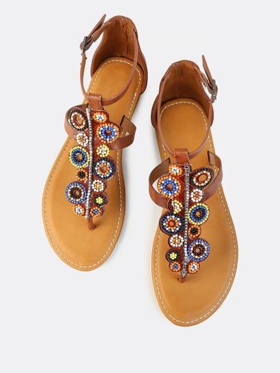Bead Embellished Ankle Back Sandals TAN