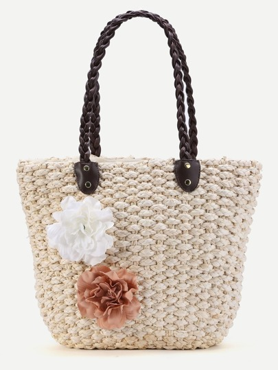 Flower Embellished Straw Beach Bag