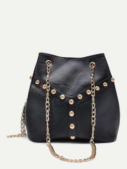 Beaded Detail Bucket Bag With Chain