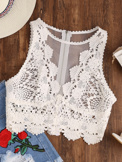 Scallop Lace Applique Exposed Zip Tulle Tank Top