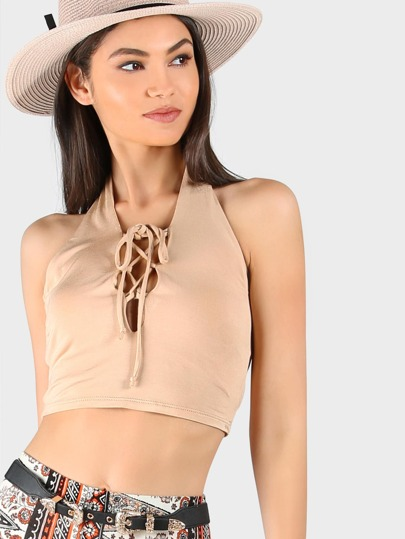 Halter Lace Front Crop Top BEIGE