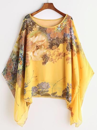 Модная шифоновая блуза с цветочным принтом