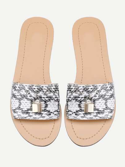 Snake Print Lock Detail Sliders